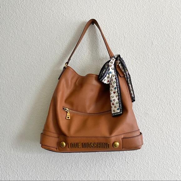 Women's Moschino Cognac Hobo Tote Handbag Euc